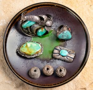 Antique Navajo silver and turquoise jewelry with pre columbian indian whirls from santa Fe New Mexico art galleries