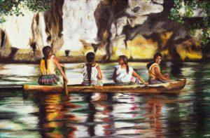 painting of 4 native american women in a canoe